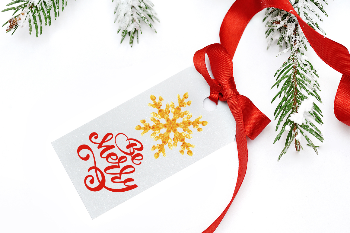 Merry Christmas Hand Draw Lettering Objects example image 3