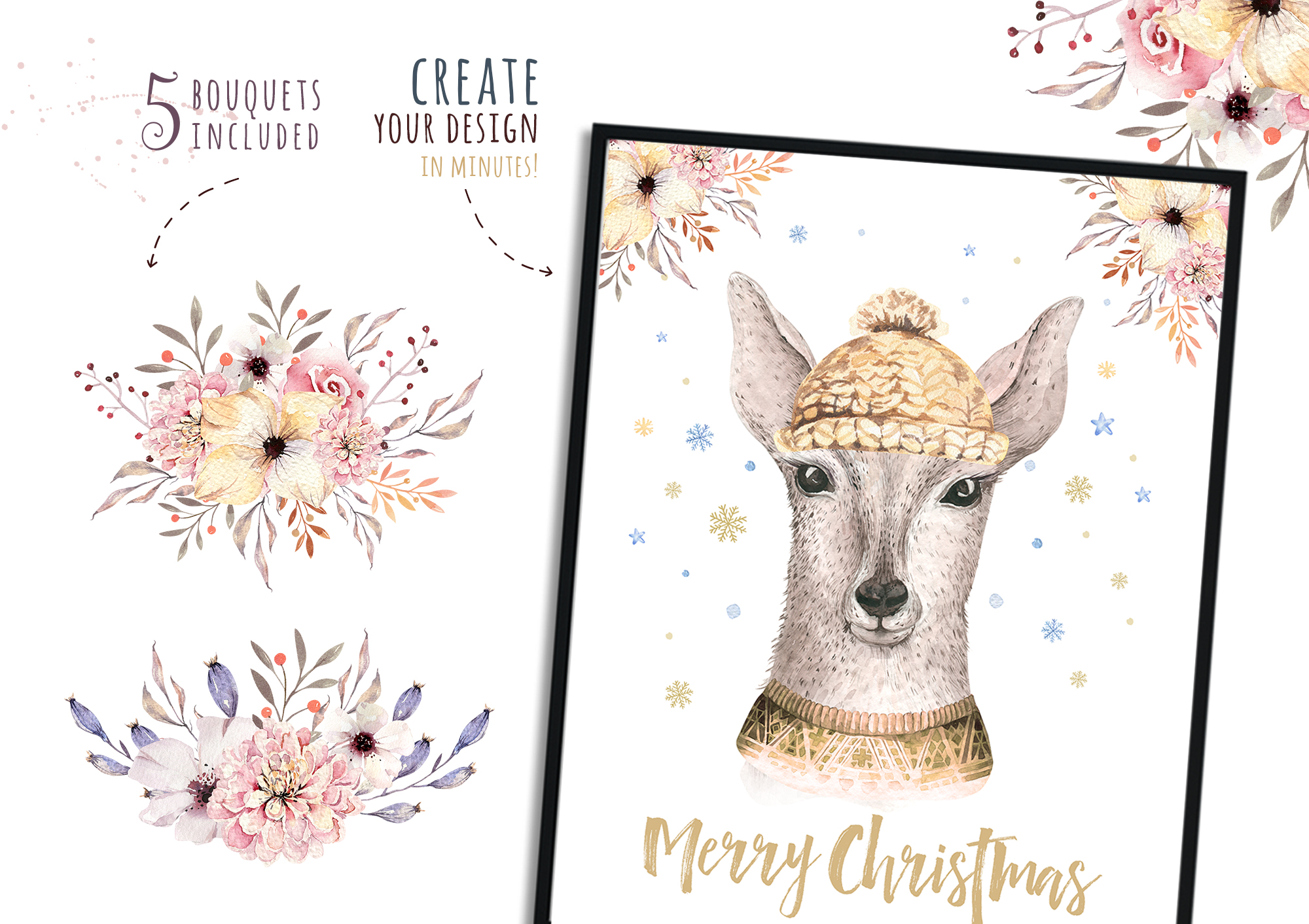 Christmas raccoon and deer animals example image 5