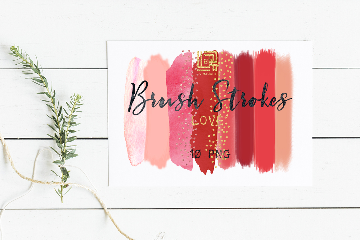 Brush Strokes Clip Art. Love collection. Hot pink, red, peach pink, blush pink, and heart glitter confetti strokes. Digital Design Resource. example image 2