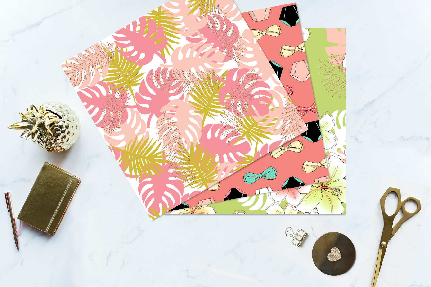 Tropical Summer Girls Clip Art example image 11