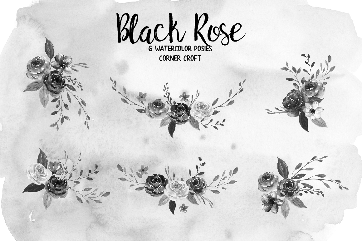 Watercolor Collection Black Rose example image 4