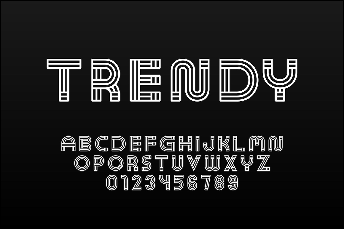 English trendy striped alphabet example image 1