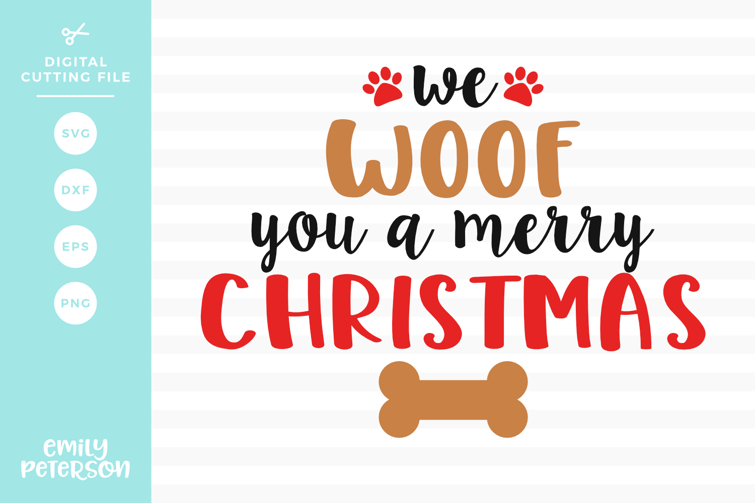 We Woof You A Merry Christmas SVG DXF EPS PNG example image 1