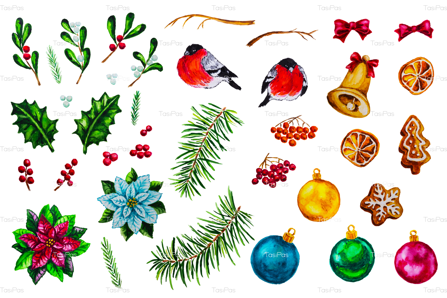 Christmas watercolor bundle example image 8
