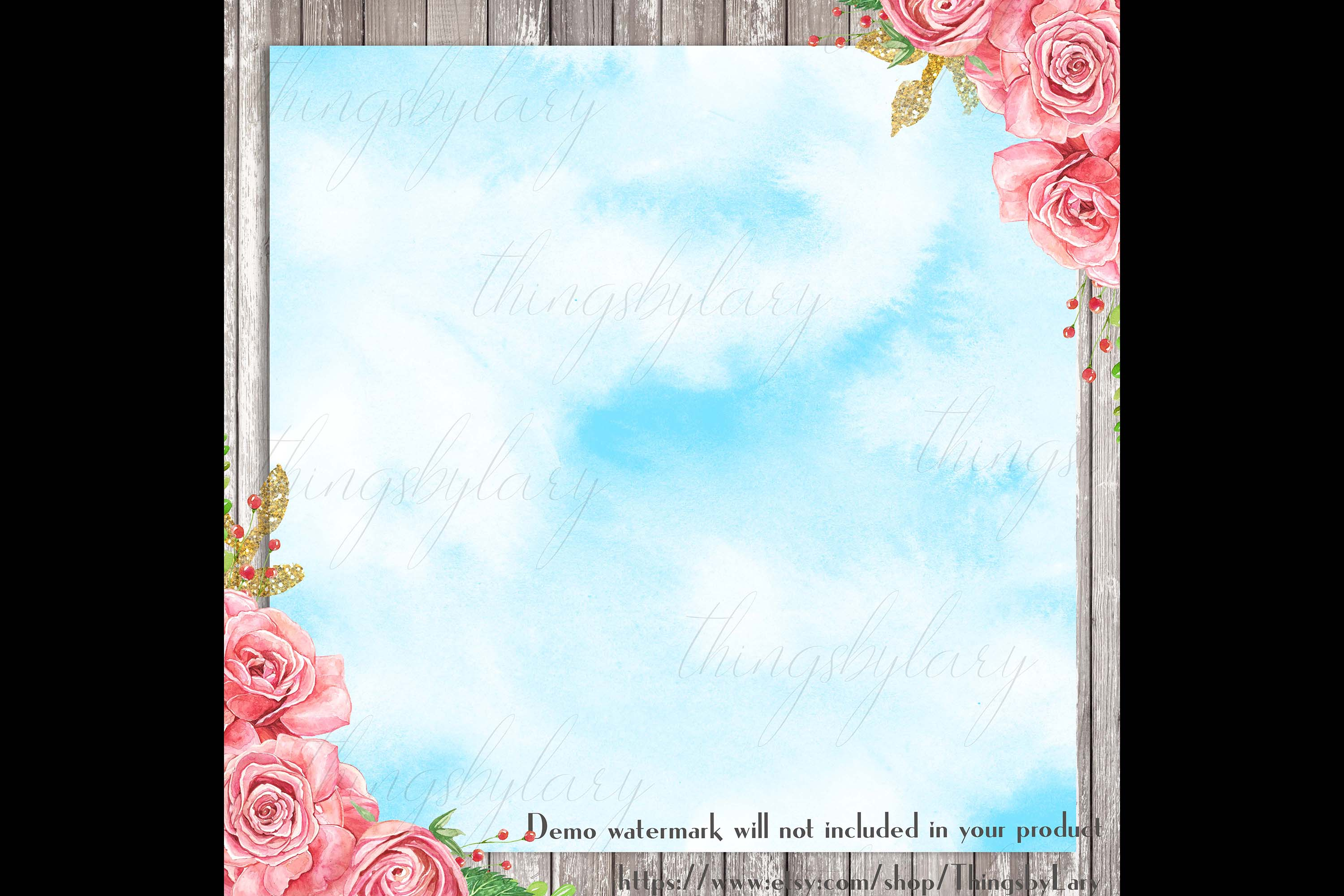 30 Watercolor Fairy Tale Cloudy Sky Baby Shower Paper Images example image 4