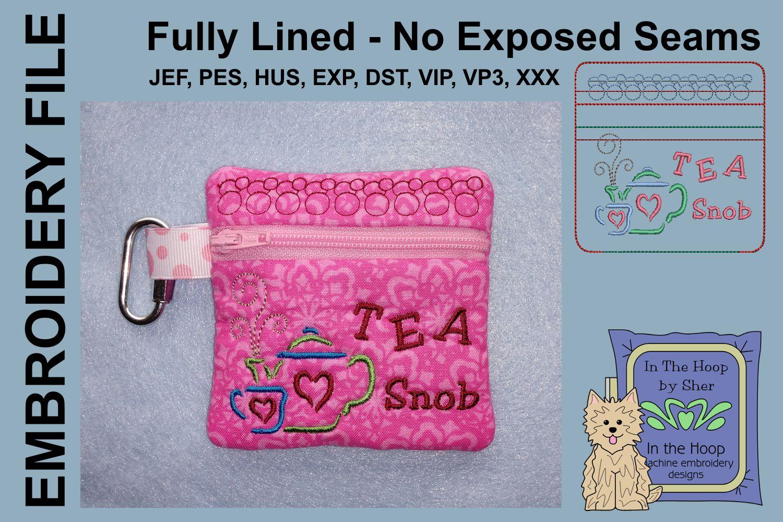 Tea Snob Tea Bag Holder Zipper Bag / Fully Lined, 4X4 HOOP example image 1