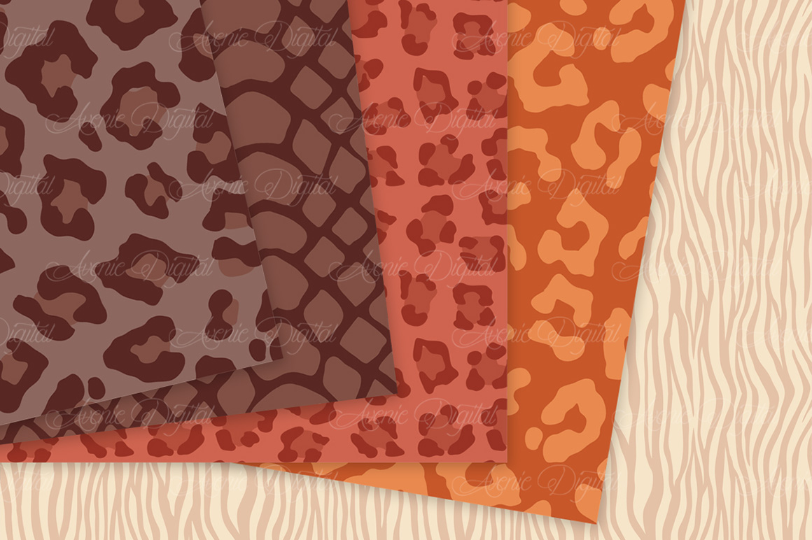 Fall Animal Print Vector Patterns -  Autumn Safari Seamless Digital Papers example image 3