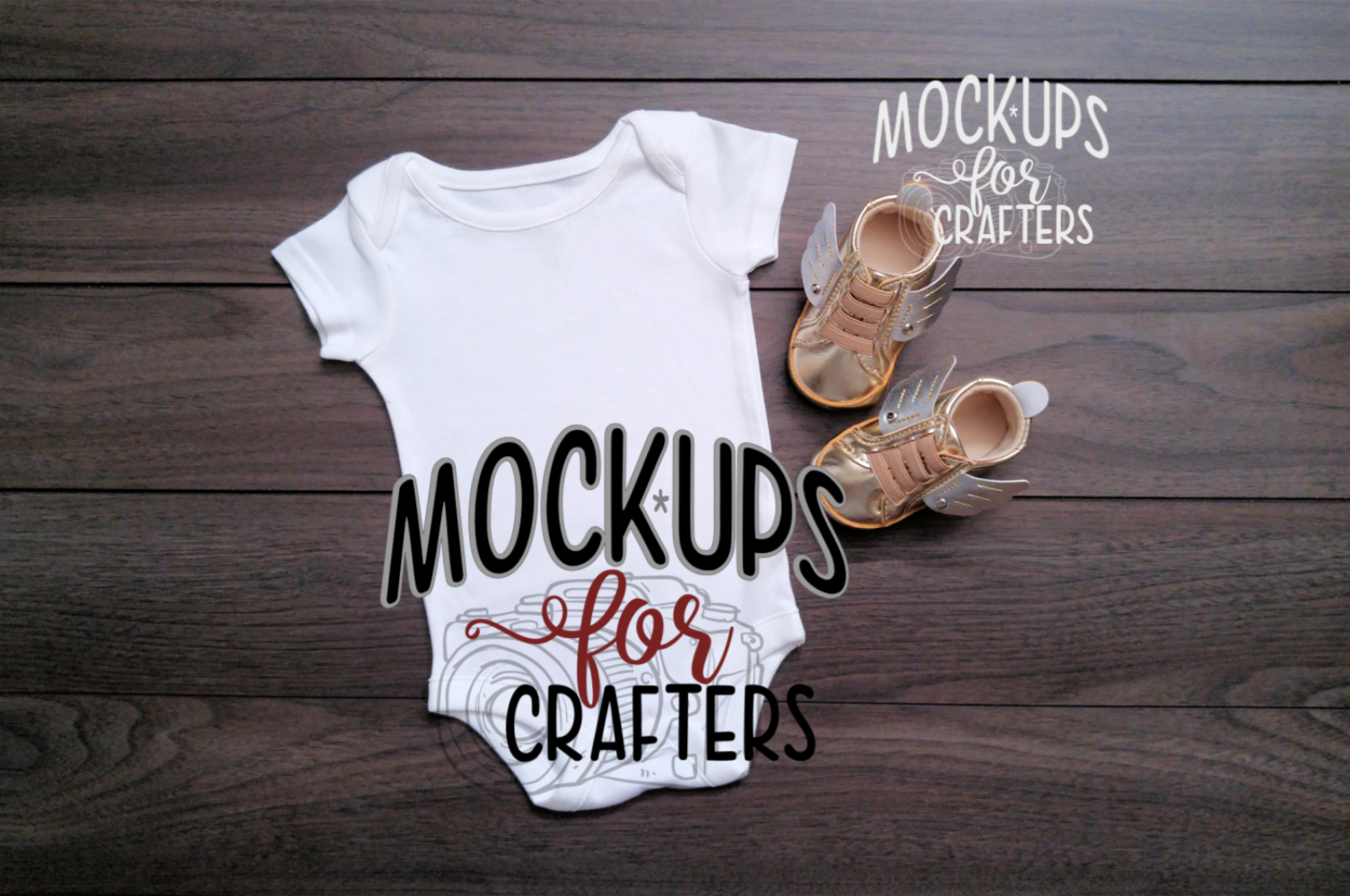 MOCK-UP - White one-piece baby outfit example image 1
