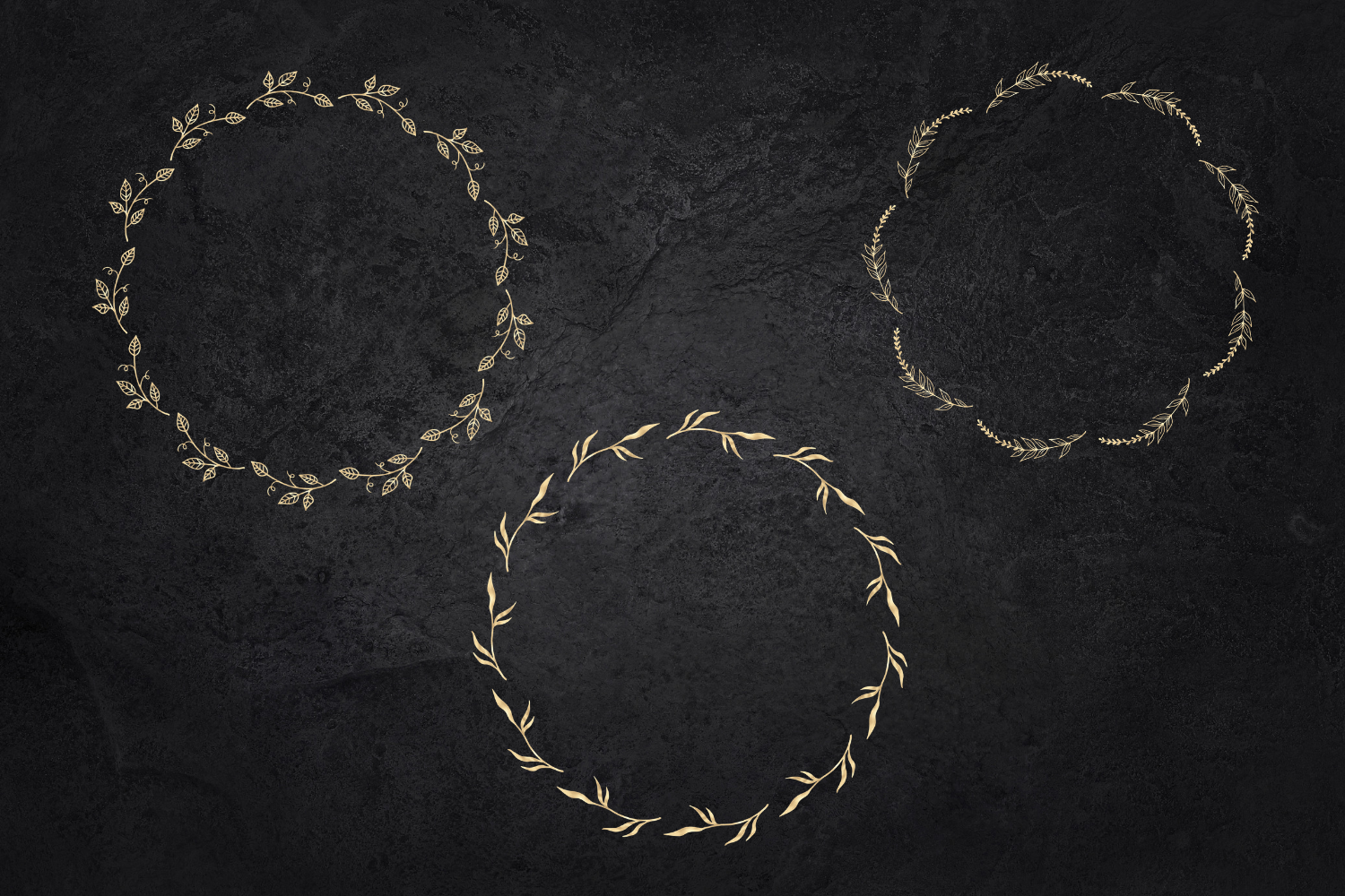 25 Gold wreaths clipart, Delicate Gold hand drawn overlay example image 9