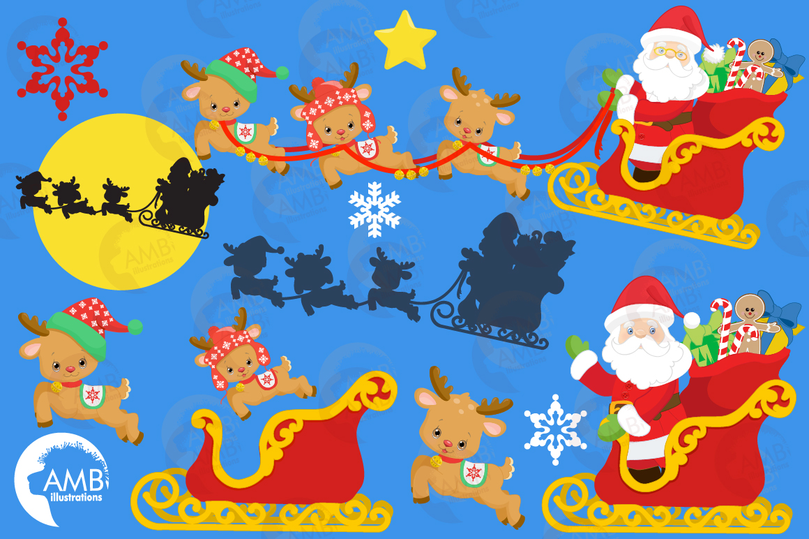 Santa's sleigh clipart, graphics, illustrations AMB-2294 example image 5