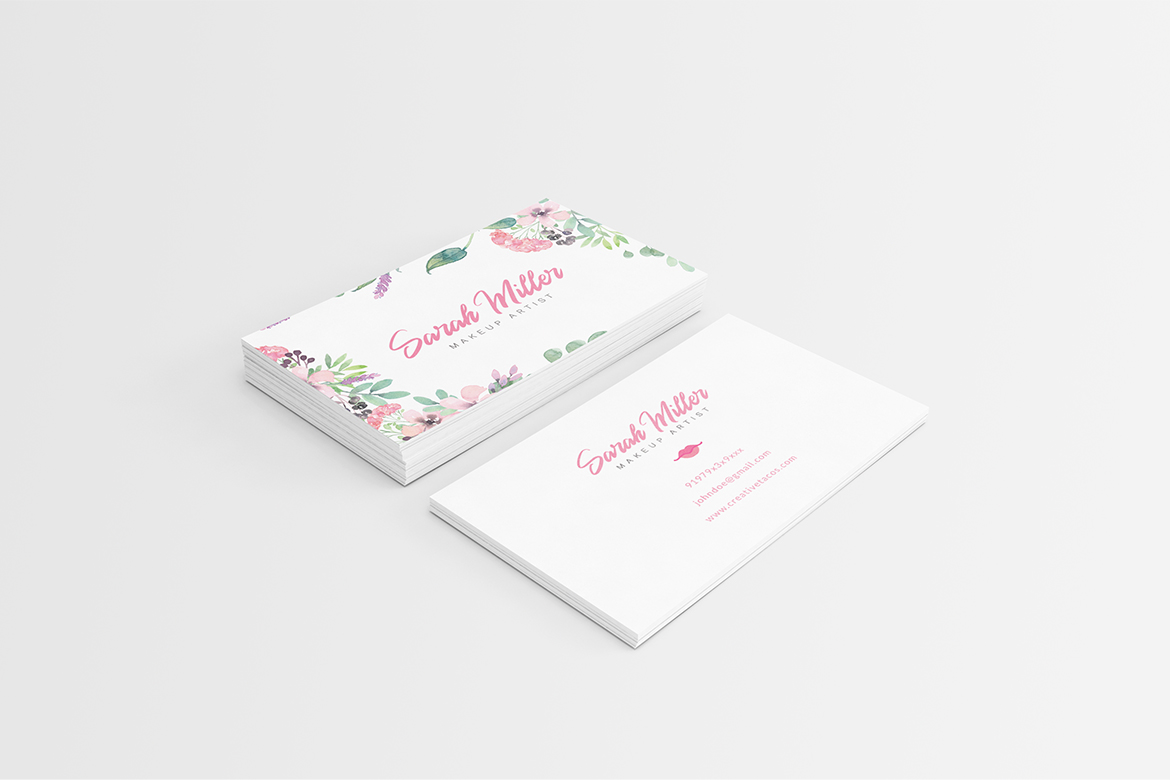 Floral Minimalist Business Card Template example image 5