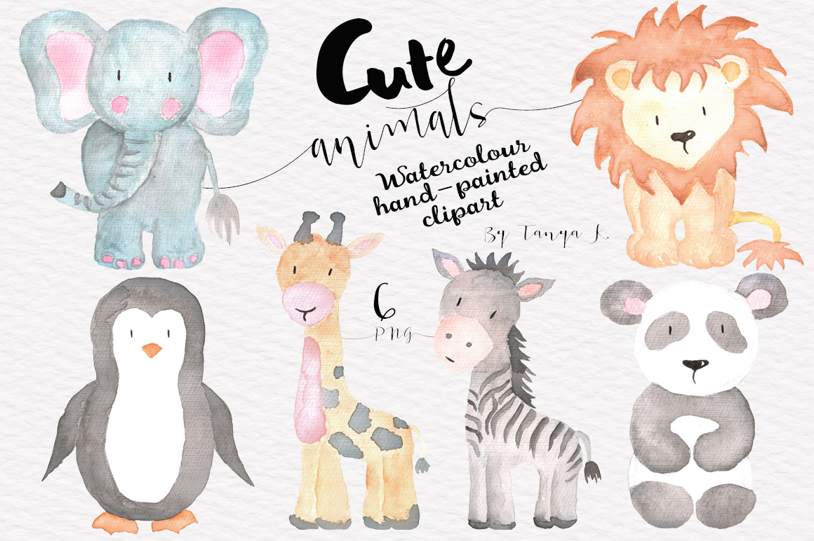 Cute Animals Watercolor Set example image 1