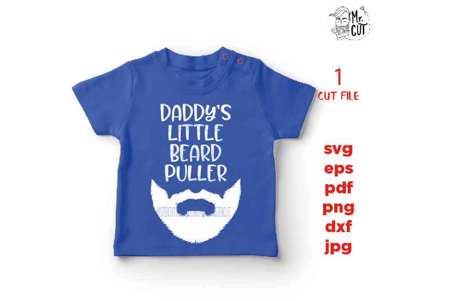 daddy's little beard puller svg, beard Svg, baby bodysuit sv example image 3