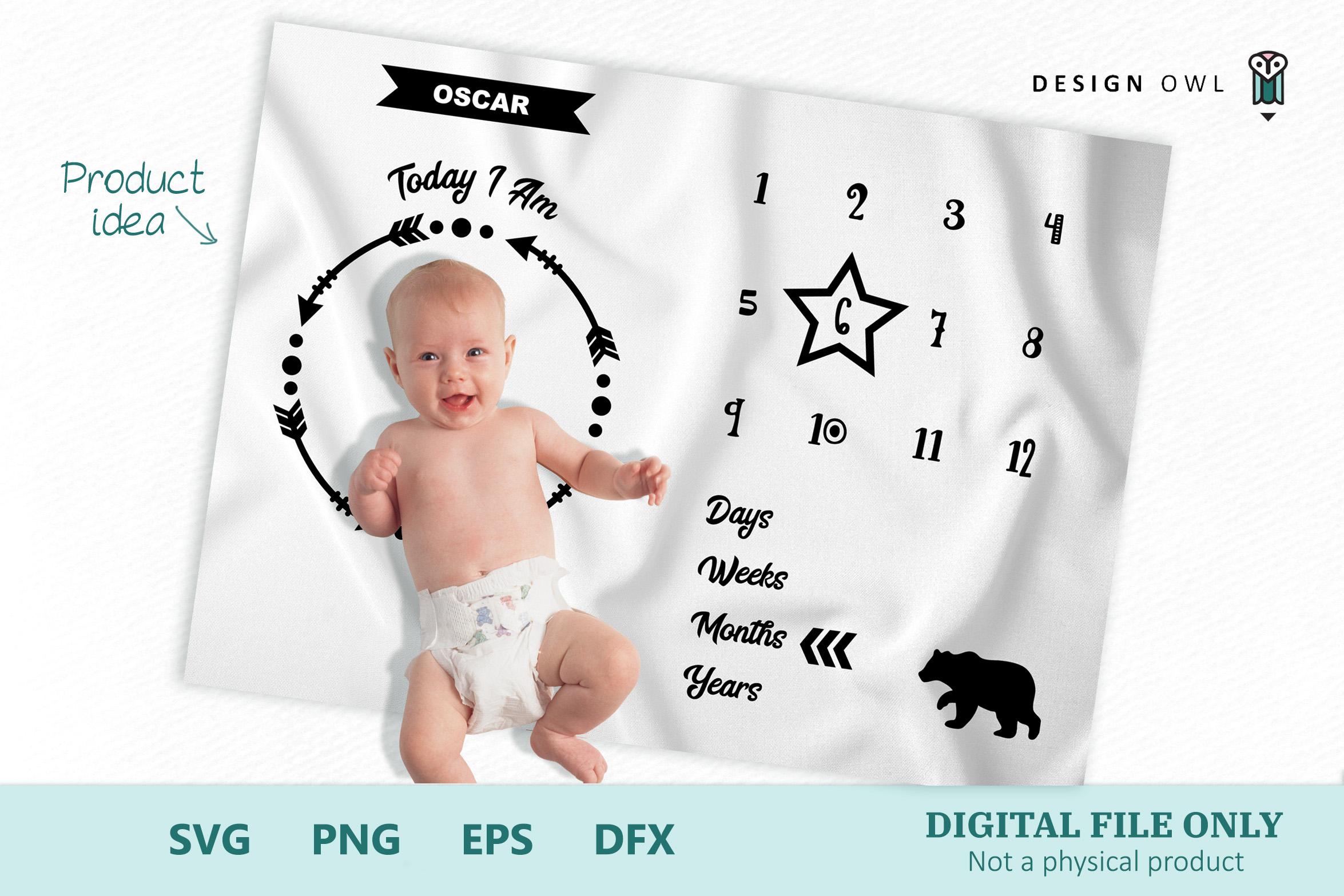 Bear Milestone Blanket - SVG cut file example image 1