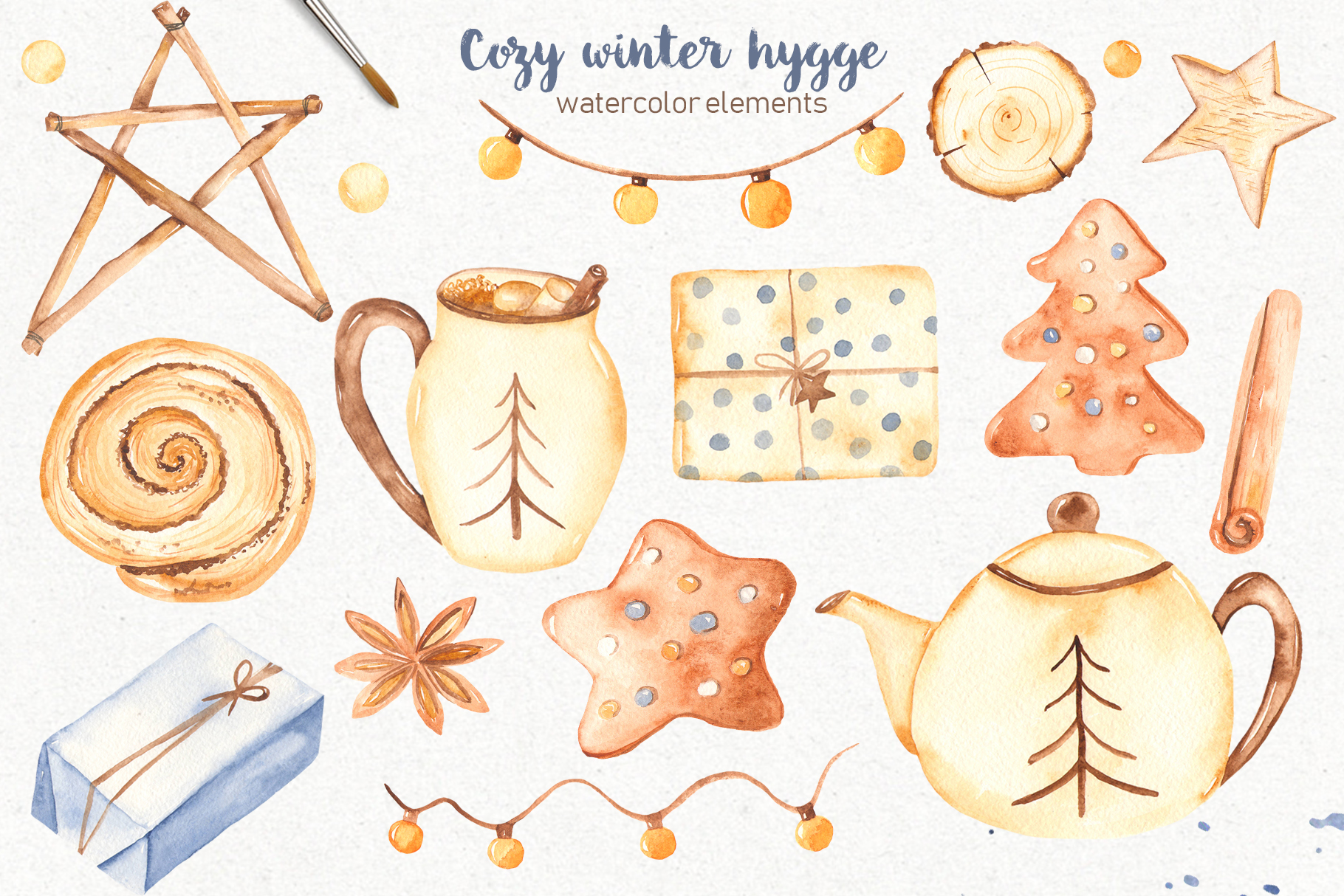 Hygge watercolor clipart Christmas cozy winter collection example image 3