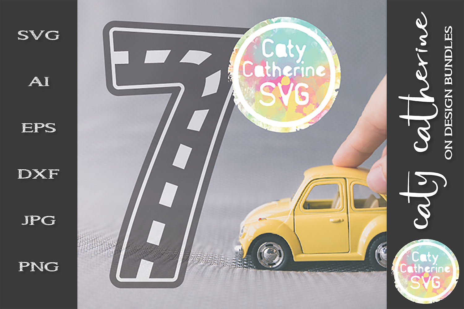 Road Map Kids Birthday Number Seven SVG Cut File example image 1