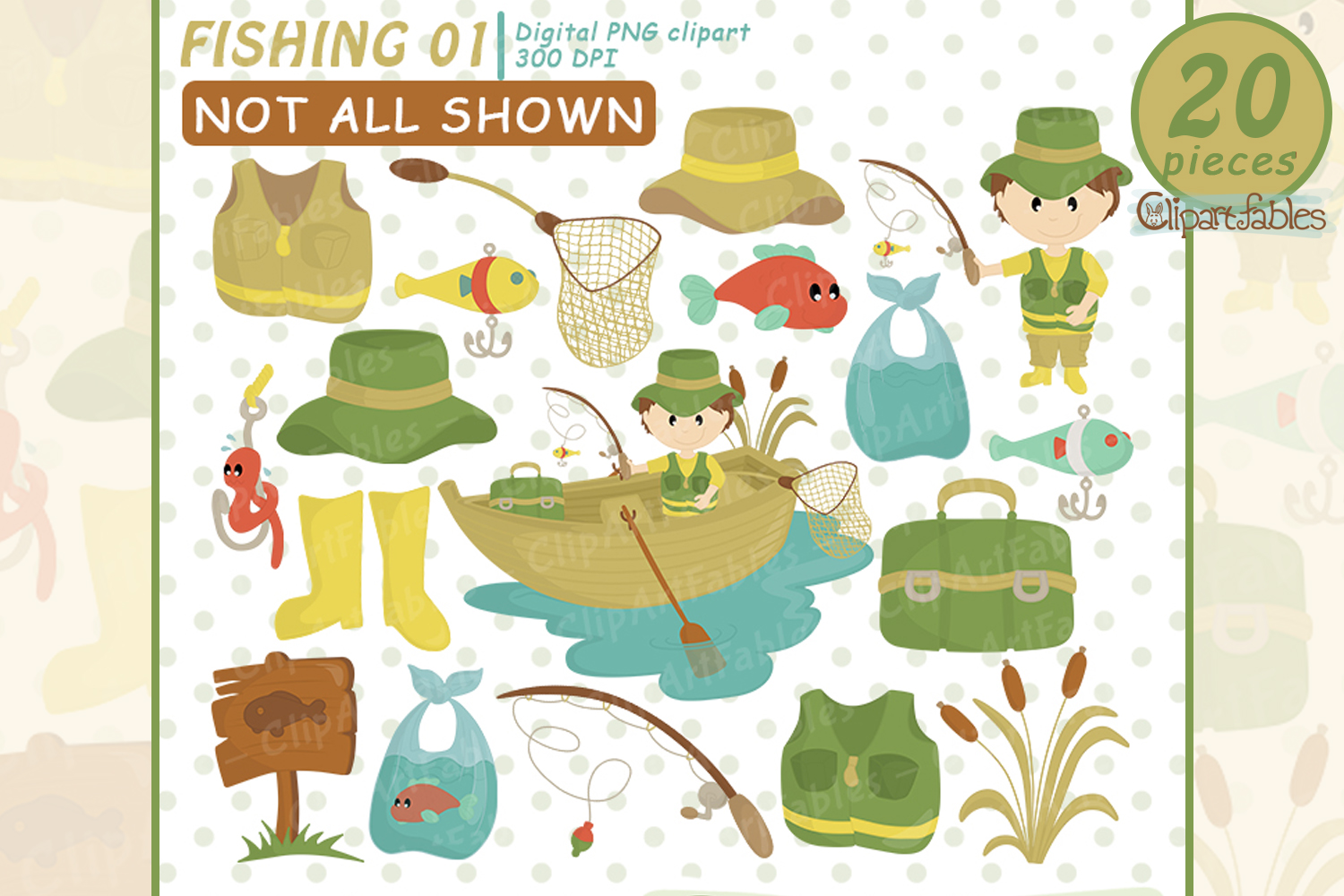 FISHING clipart, Cute fisherman clip art, Instant Download example image 1