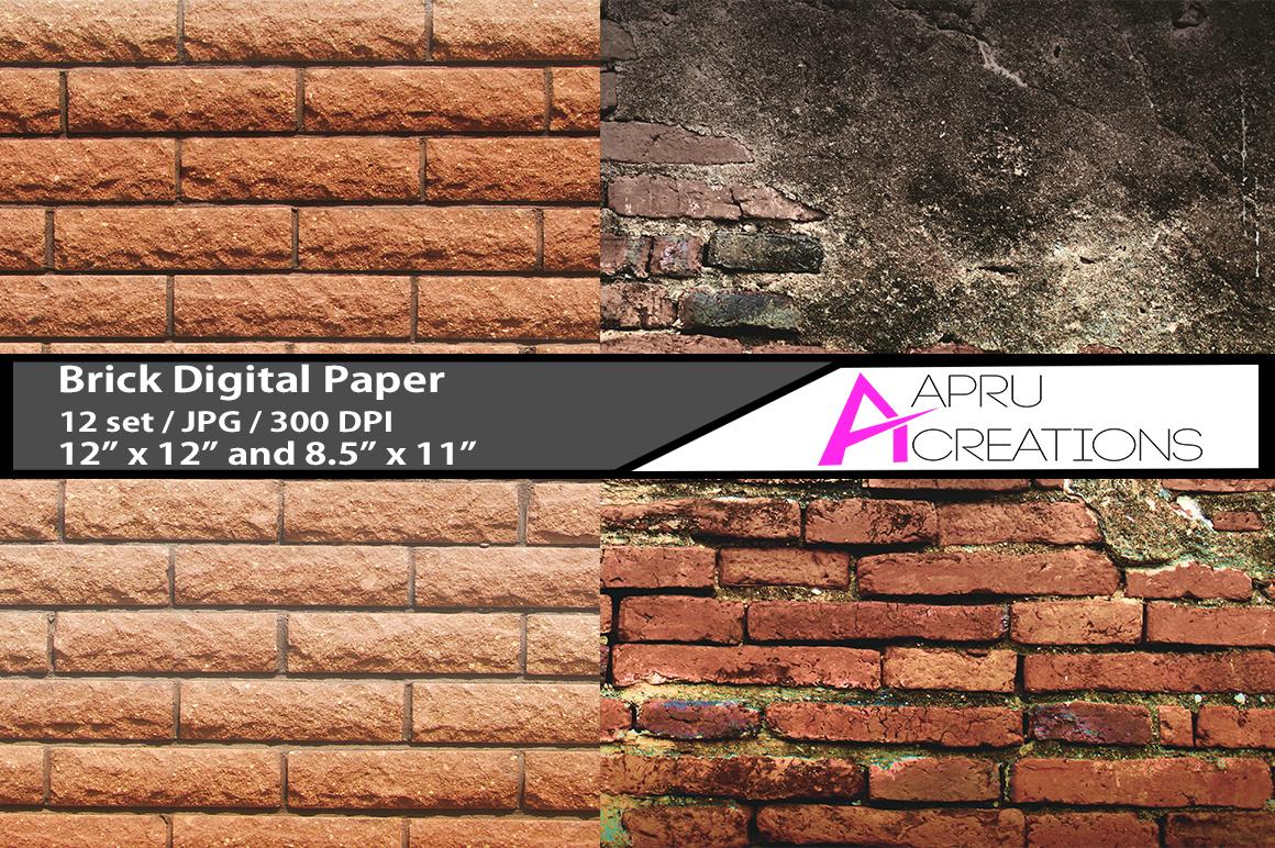 bricks pattern, brick digital papers,  brick design pattern, digital papers, bricks 300 dpi, 12 x 12 inch , and 8.5 x 11 inch example image 2