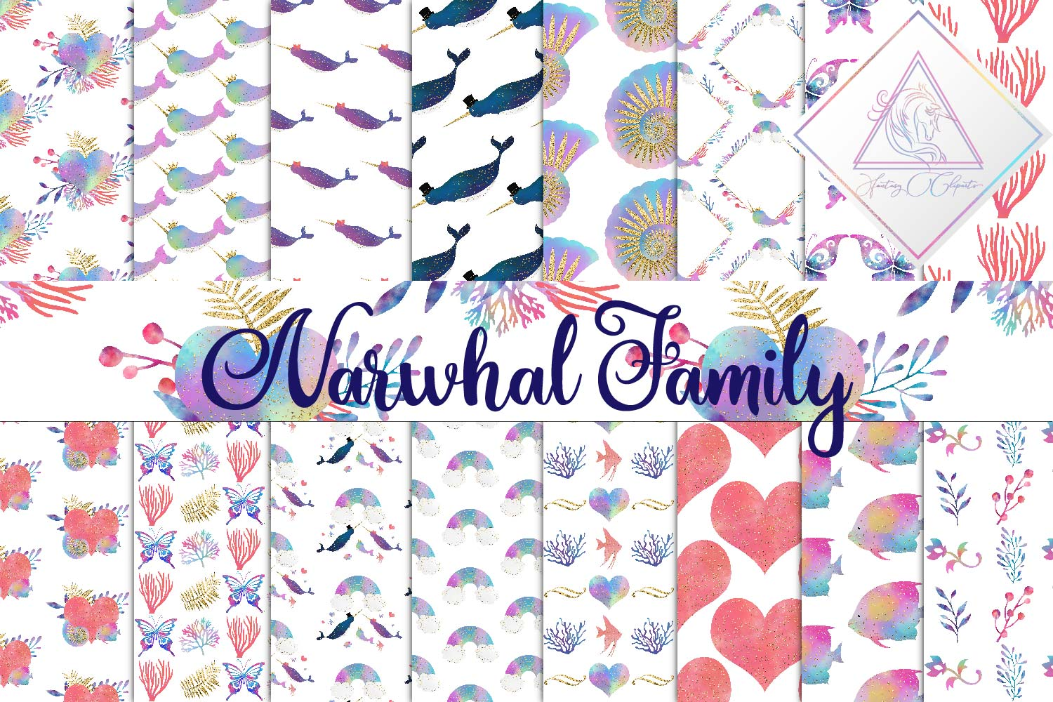 Narwhal Family Digital Paper example image 1