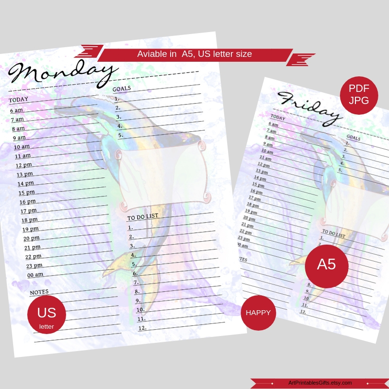 Daily Planner with dolphin, Day on 1 Page, Letter size example image 2