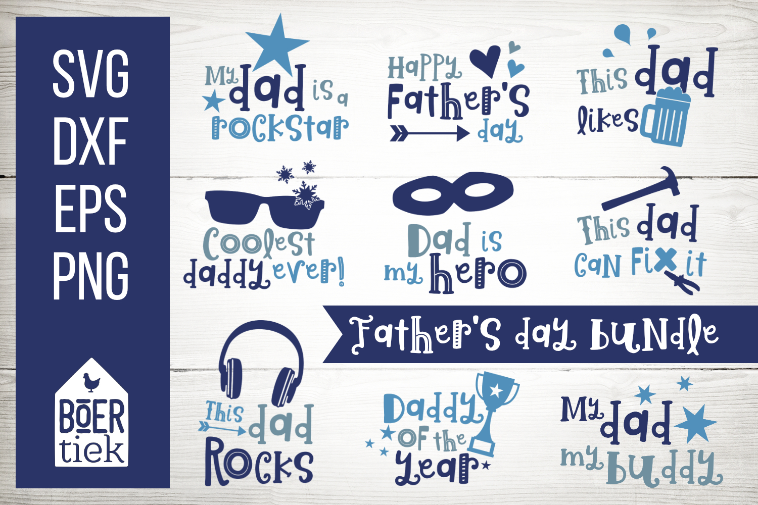 Father's day bundle, great quotes for dads, cutting files example image 1
