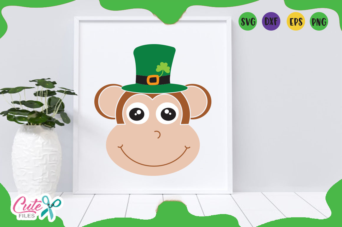 Monkey face svg, St. Patrick day Files for crafters example image 2