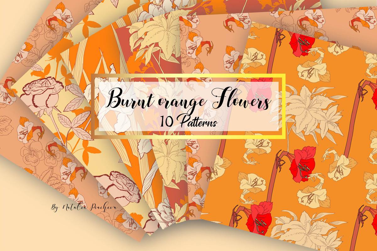Digital Paper Burnt Orange Flowers example image 1