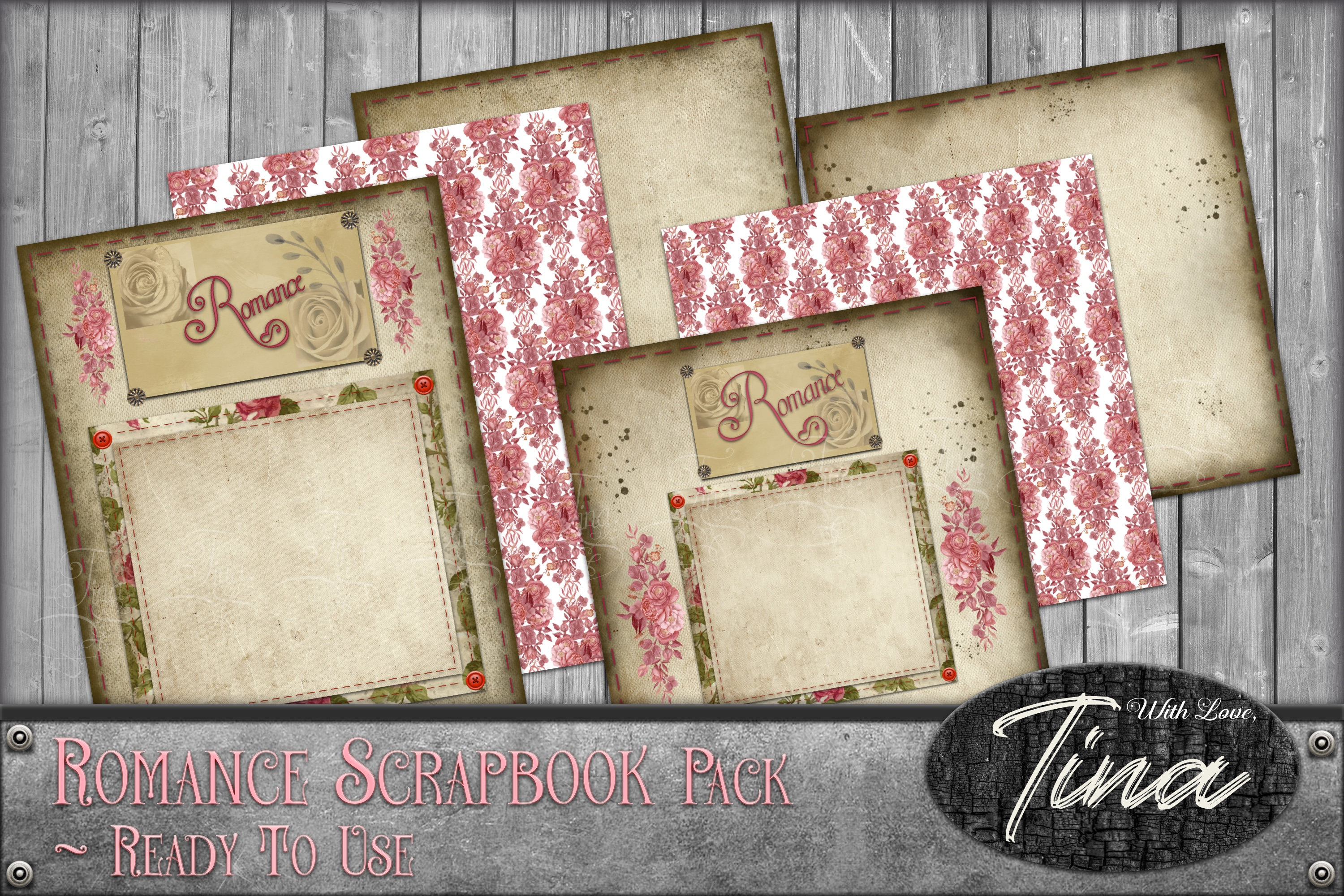 Romance Scrapbook Pack Frames Papers 091618RP example image 1