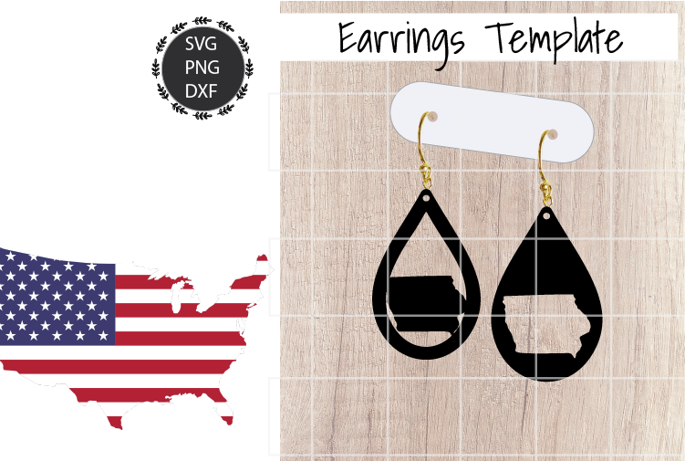 Earrings Template - Iowa Teardrop Earrings Svg example image 1
