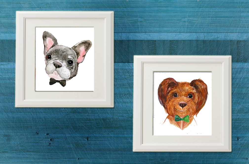 watercolor , cute dogs example image 5