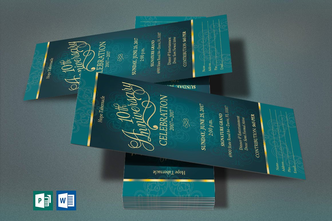 Church Anniversary Publisher Word Ticket Bundle example image 6