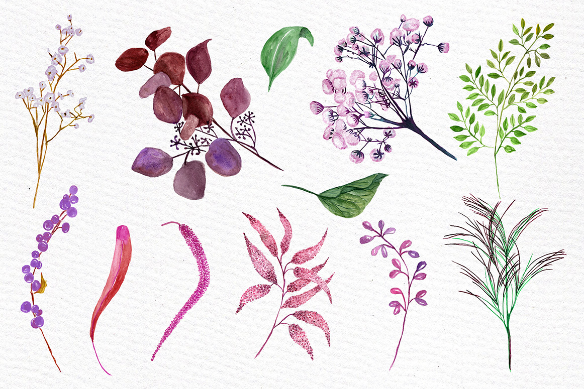 Watercolor flowers clipart example image 3