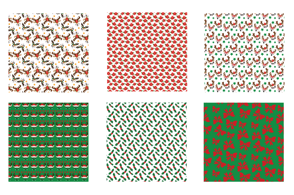 Reindeer Icons Pattern collection, vector ai, example image 3