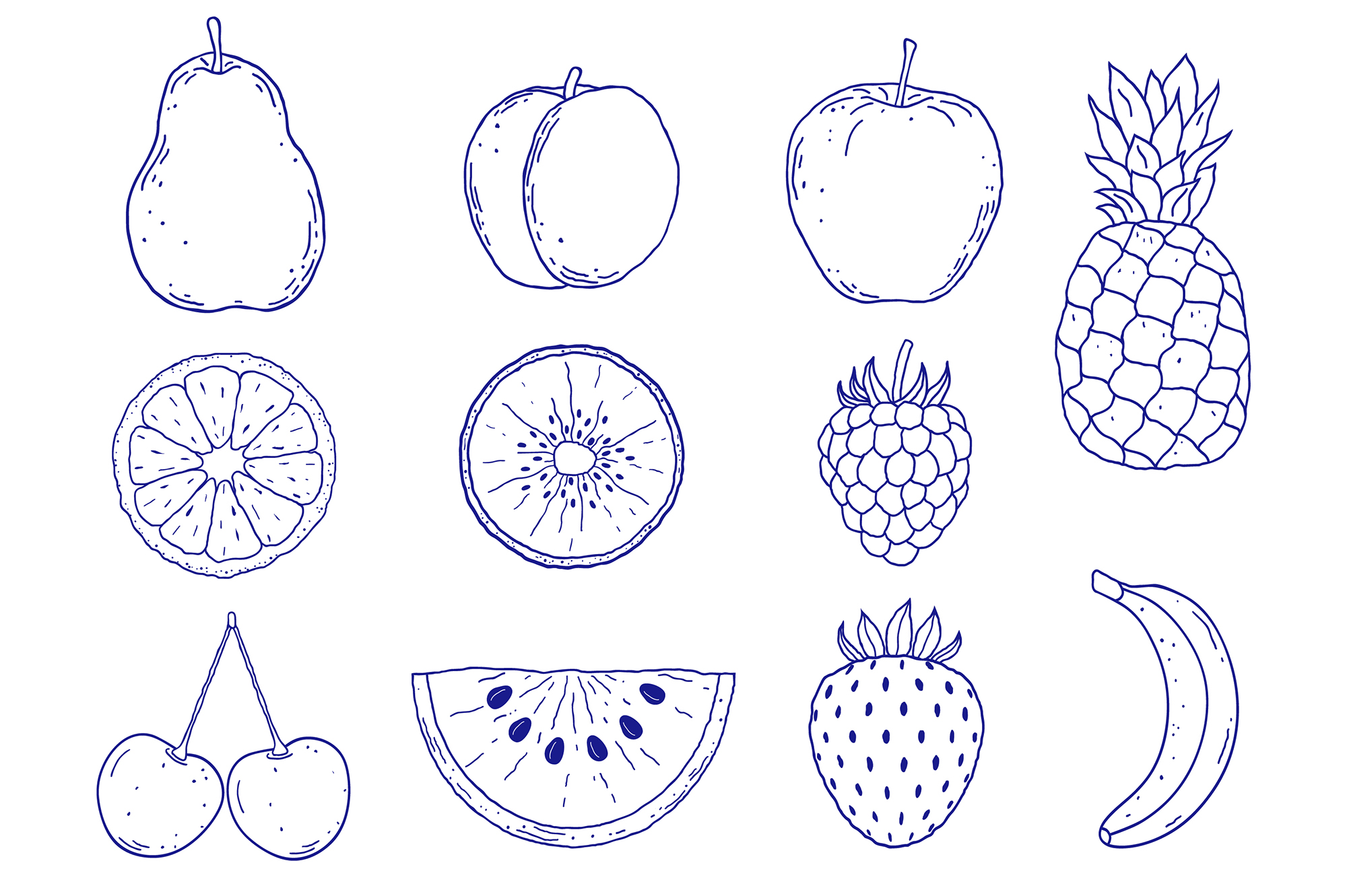 Fruits. Vector patterns. example image 11