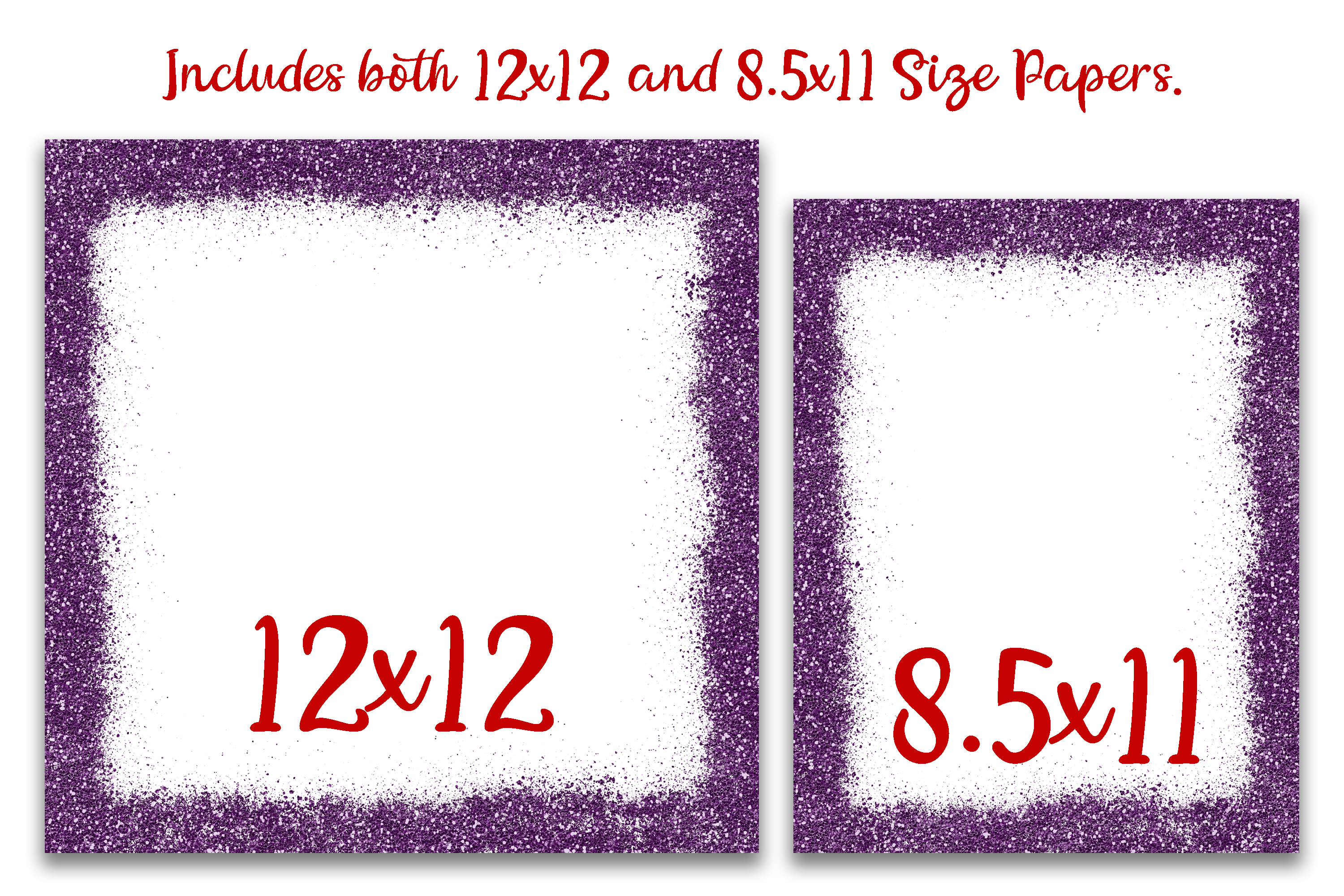 Valentine Glitter Borders Digital Paper - Includes 2 Sizes example image 2