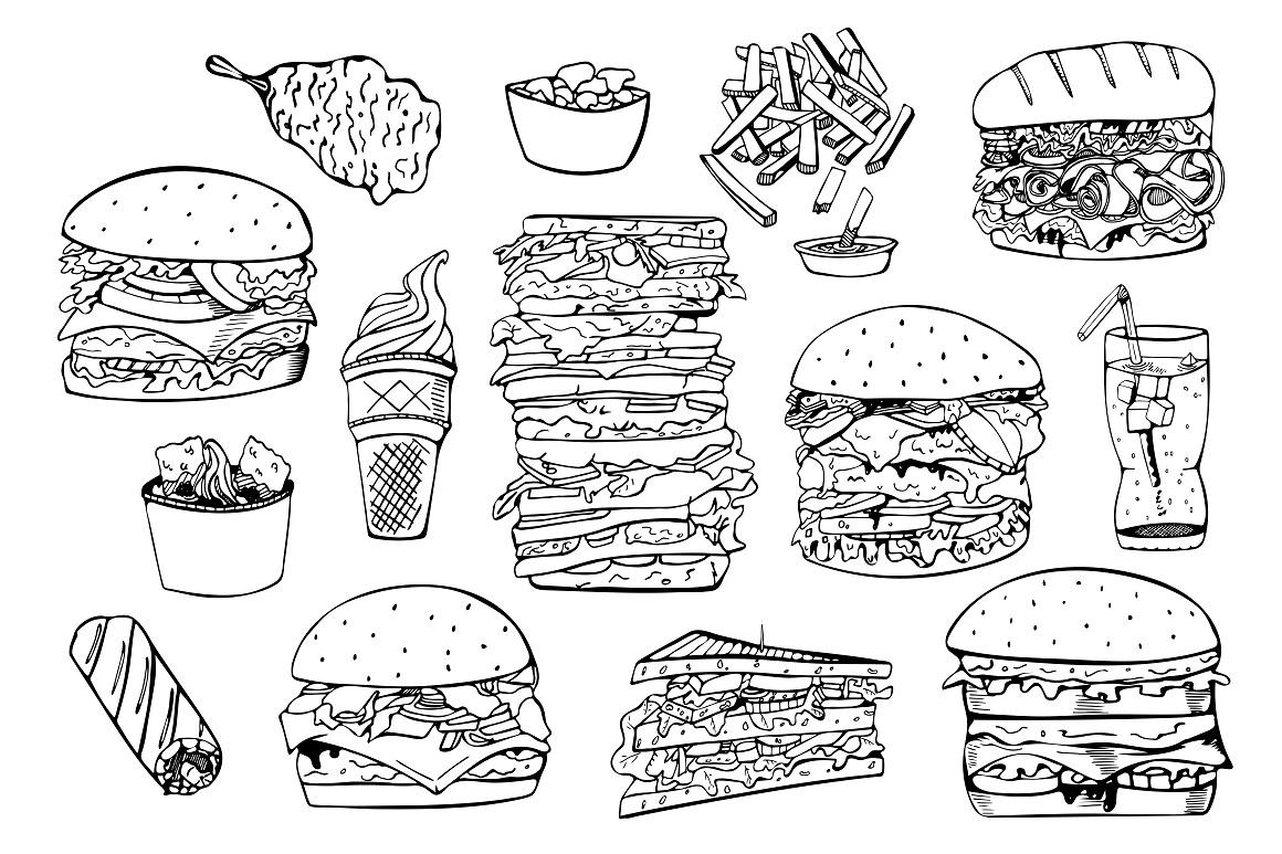 Fast food set. + Seamless patterns example image 6