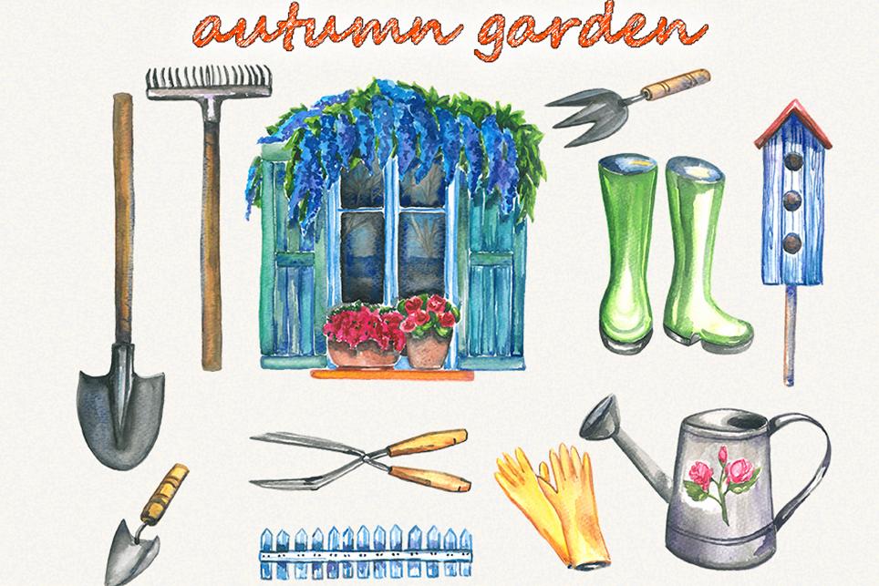 Garden clipart, spring clipart, garden tools, watercolor example image 4