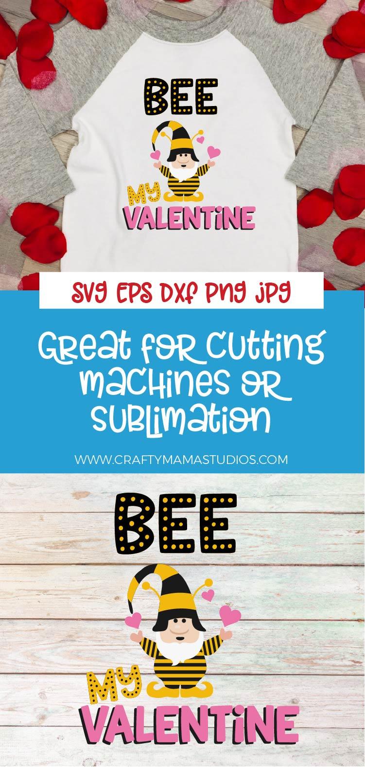 Valentine's Day SVG Valentine Gnome Bee My Valentine SVG example image 4