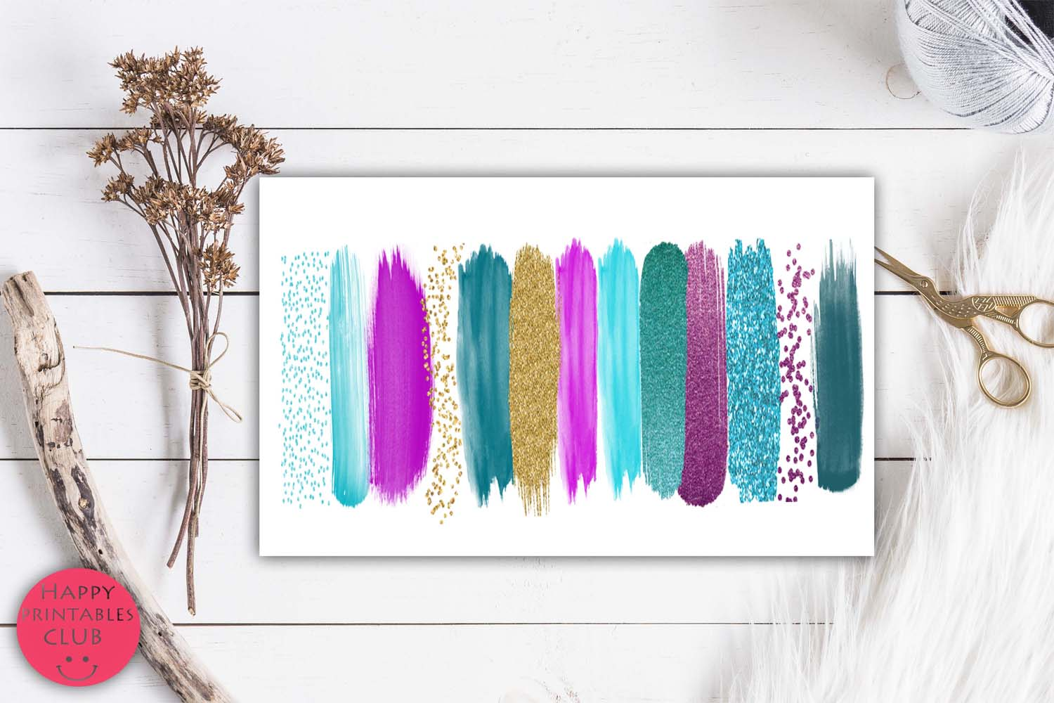 Purple Teal Gold Brush Strokes Clipart-Clipart Brush Stroke example image 4