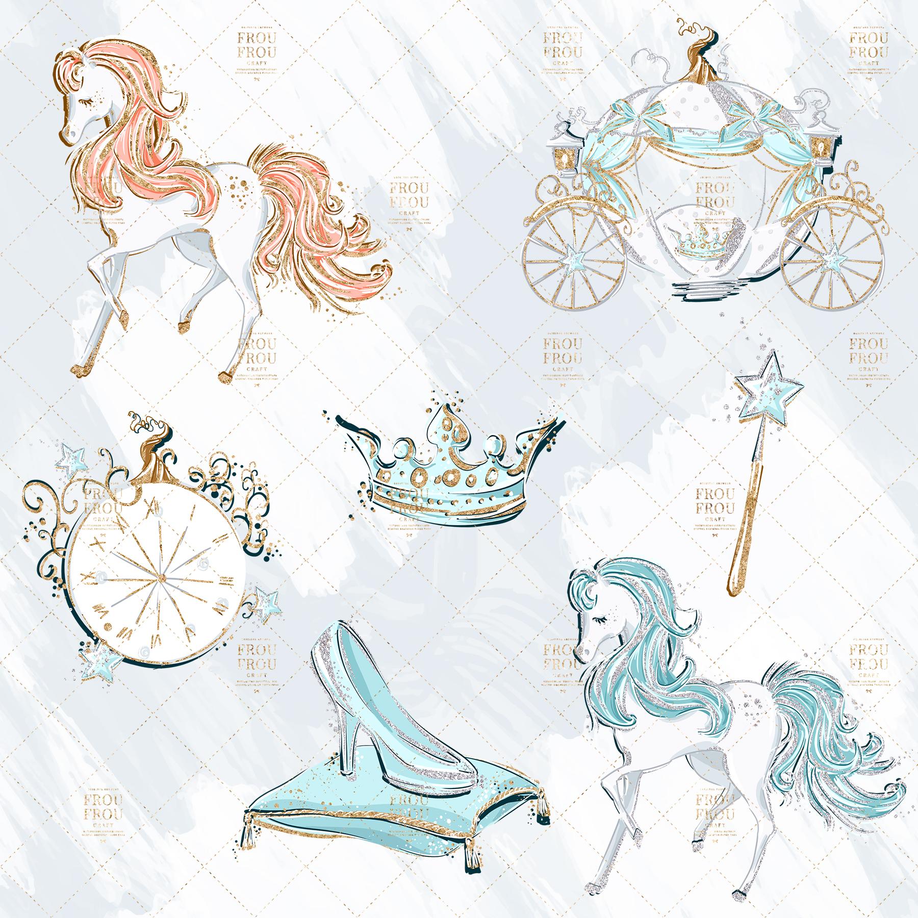 Princess Cinderella Fairy Tale Gold Glitter Clip Art example image 7