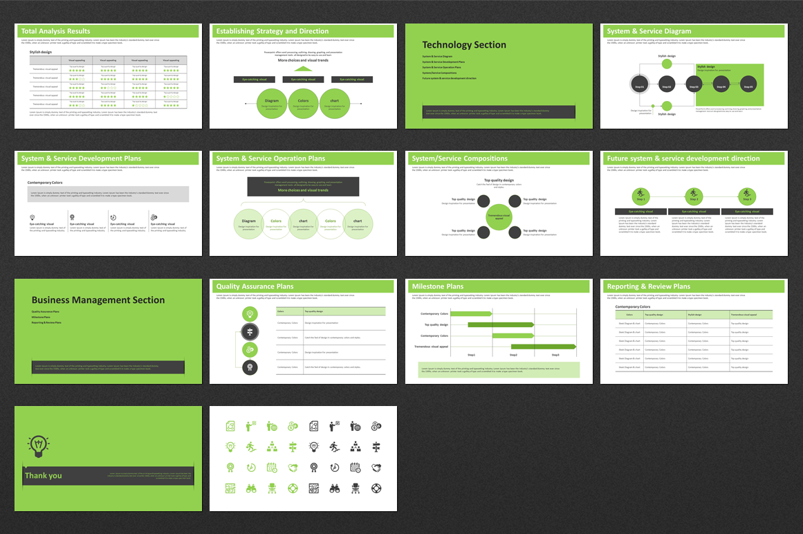 Green PowerPoint Template Strategy example image 3