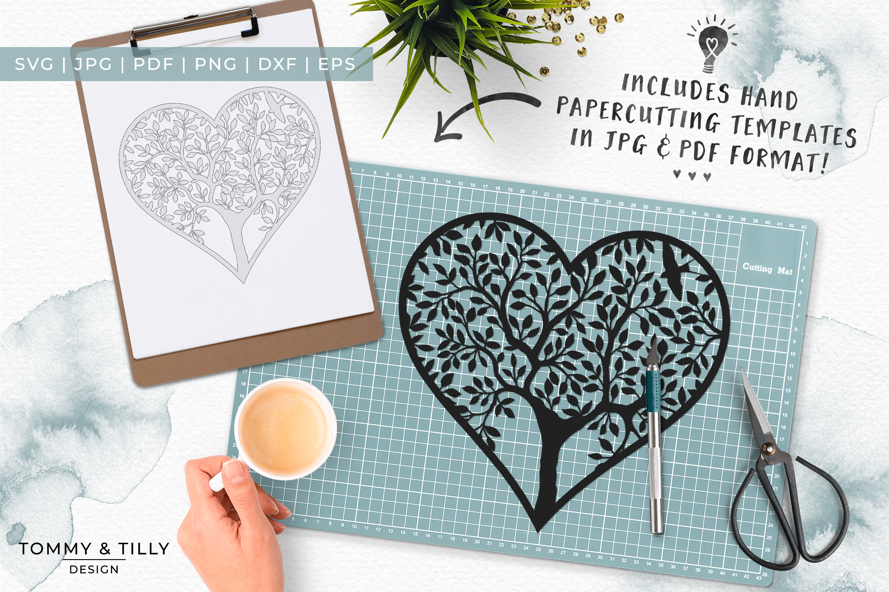 Heart Tree - Papercut Template SVG EPS DXF PNG PDF JPG example image 5