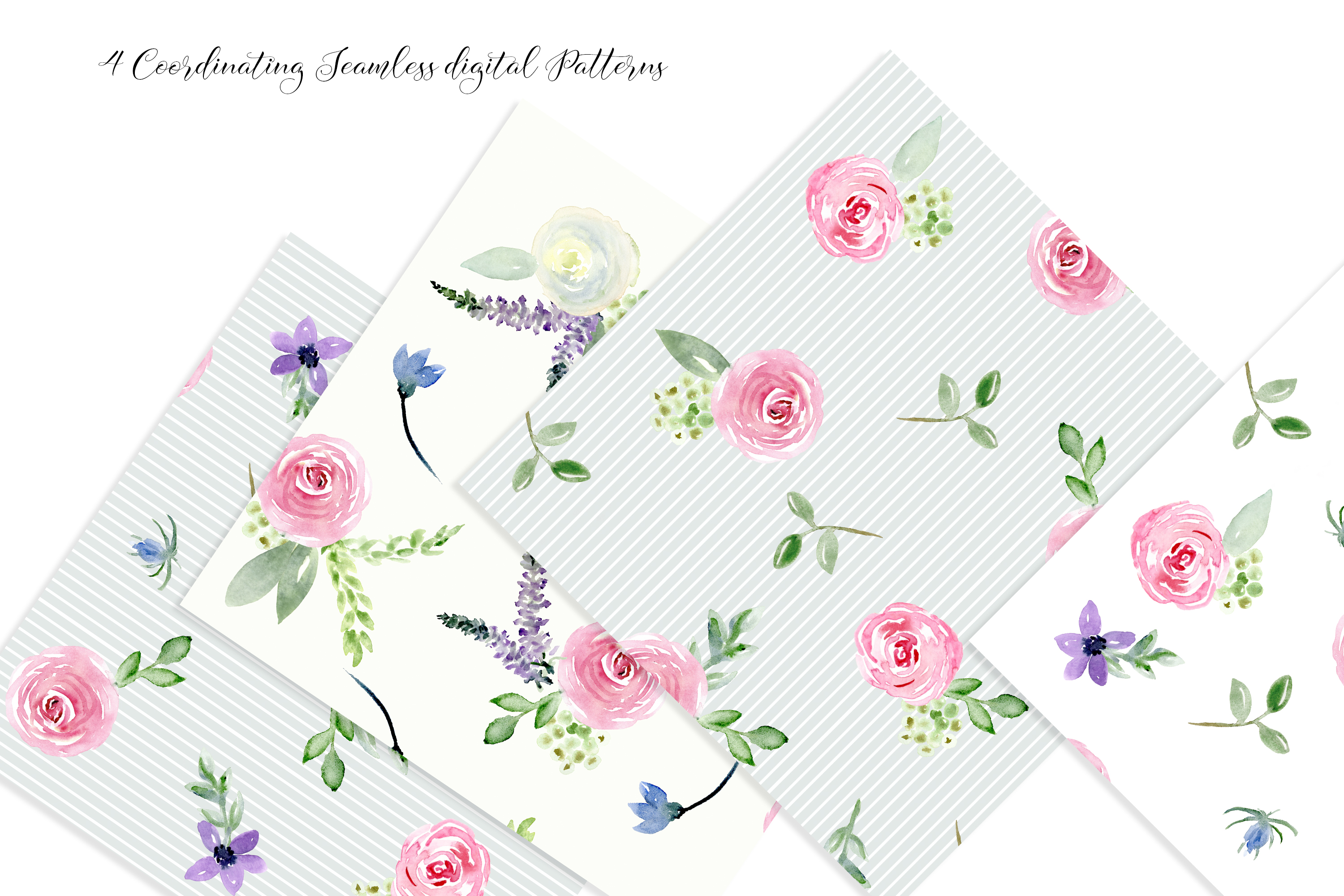 Watercolor Floral Bundle Pink, Purple Blue Flowers & Yellow example image 9