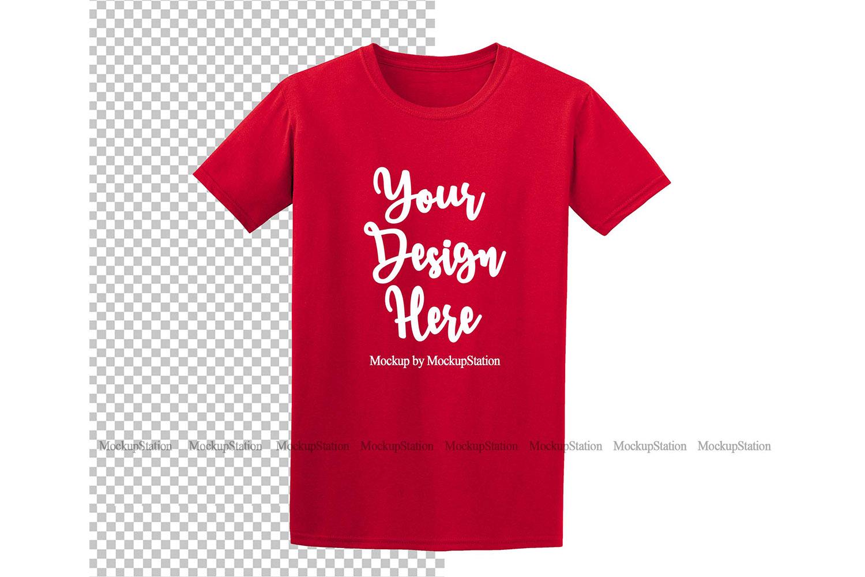 Red Gildan Shirt Mockup On Transparent & White Background example image 1