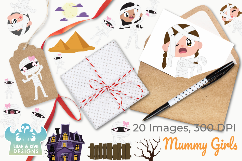 Mummy Girls Clipart, Instant Download Vector Art example image 4