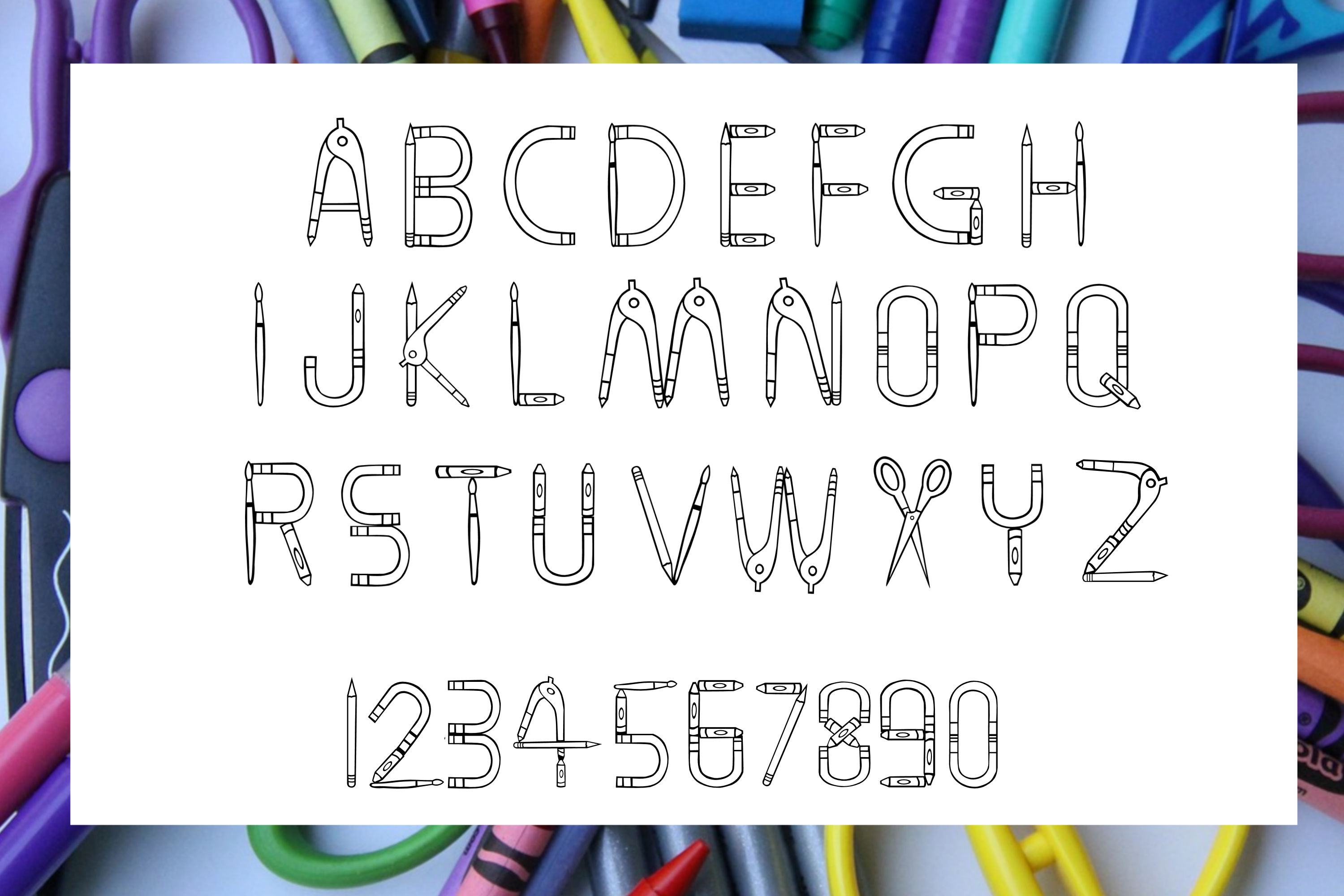 Elementary School - A filled and hollow school font example image 3