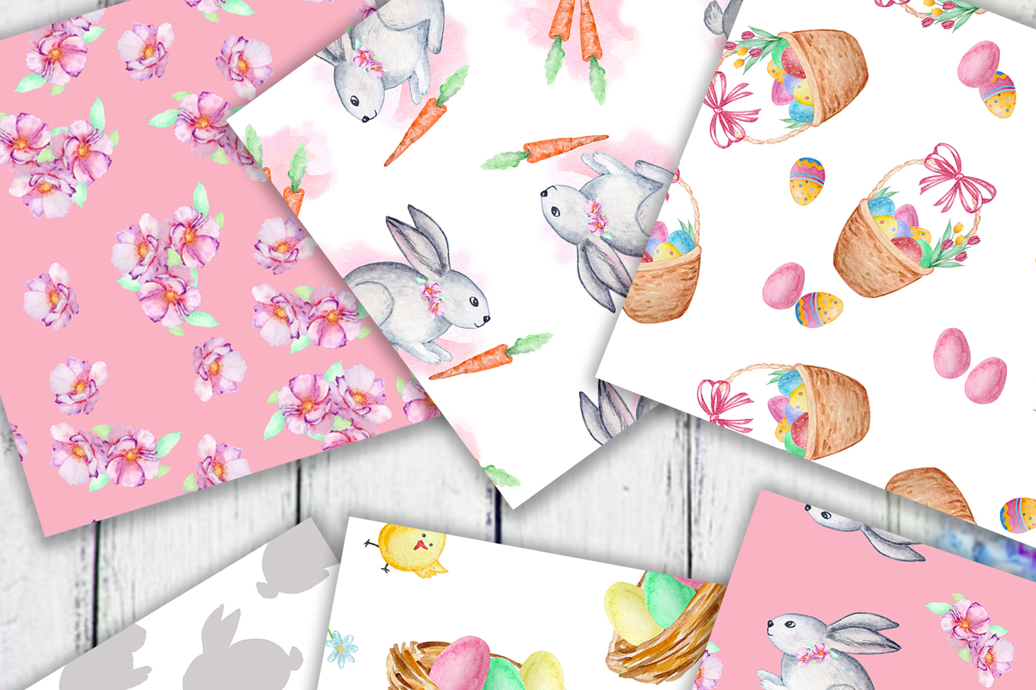 Watercolor Cute Bunny Seamless Paper Pattern example image 2