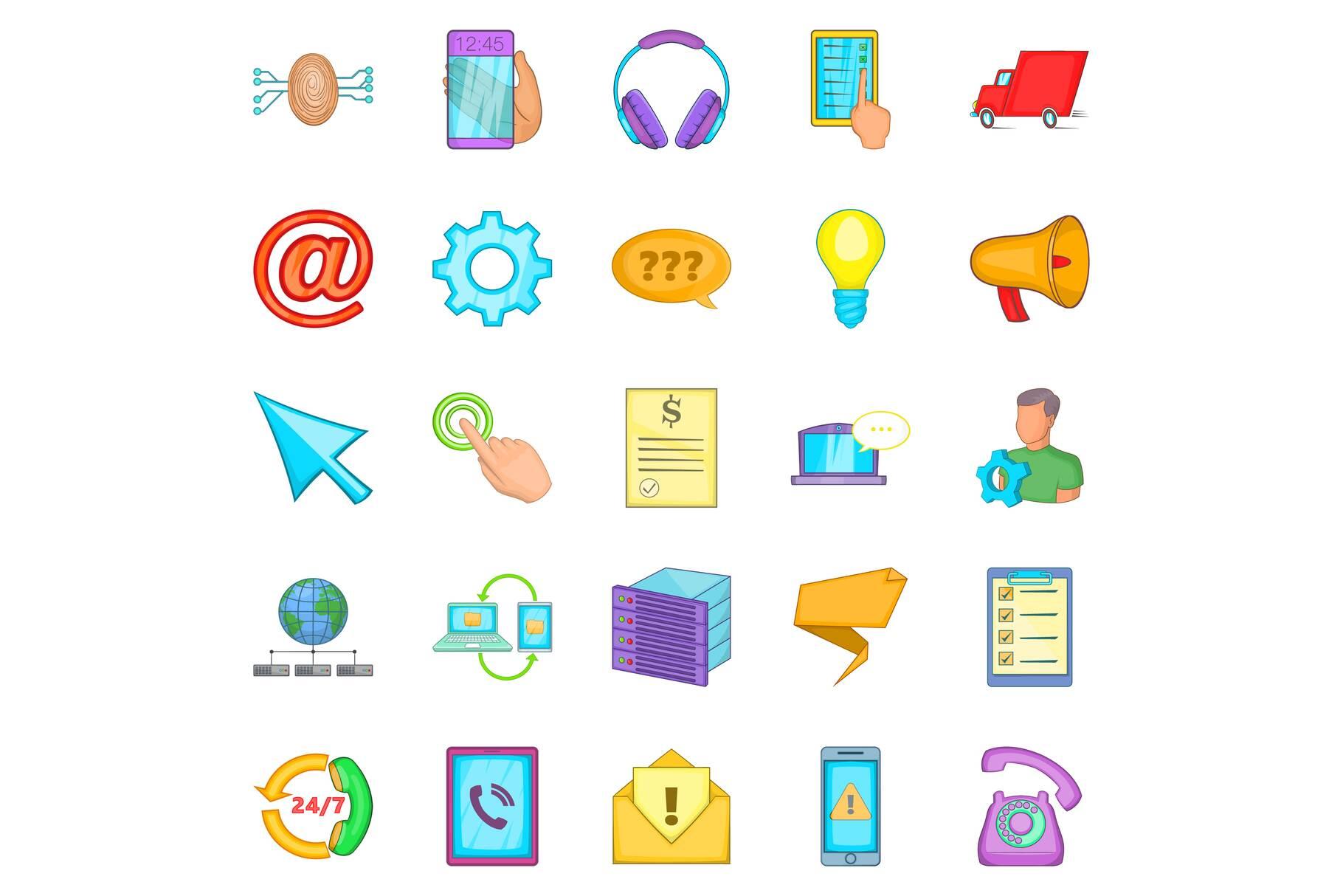 Trumpet icons set, cartoon style example image 1