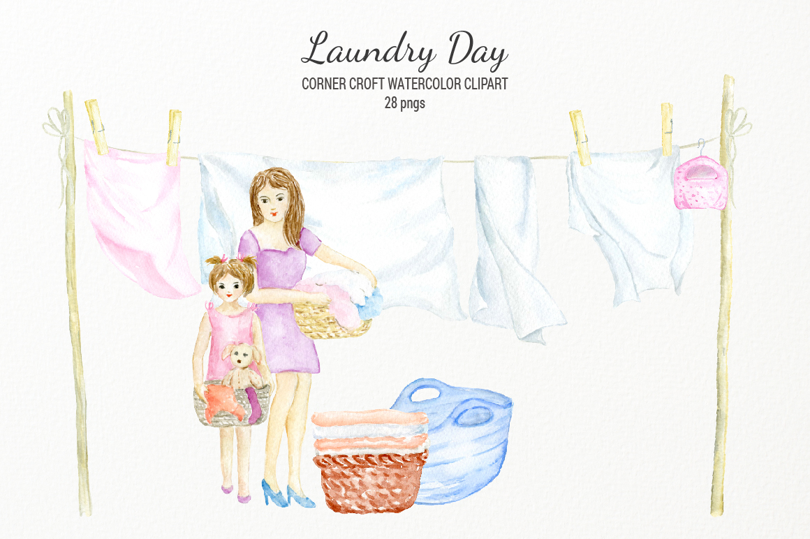 Watercolor laundry day clipart for instant download example image 4