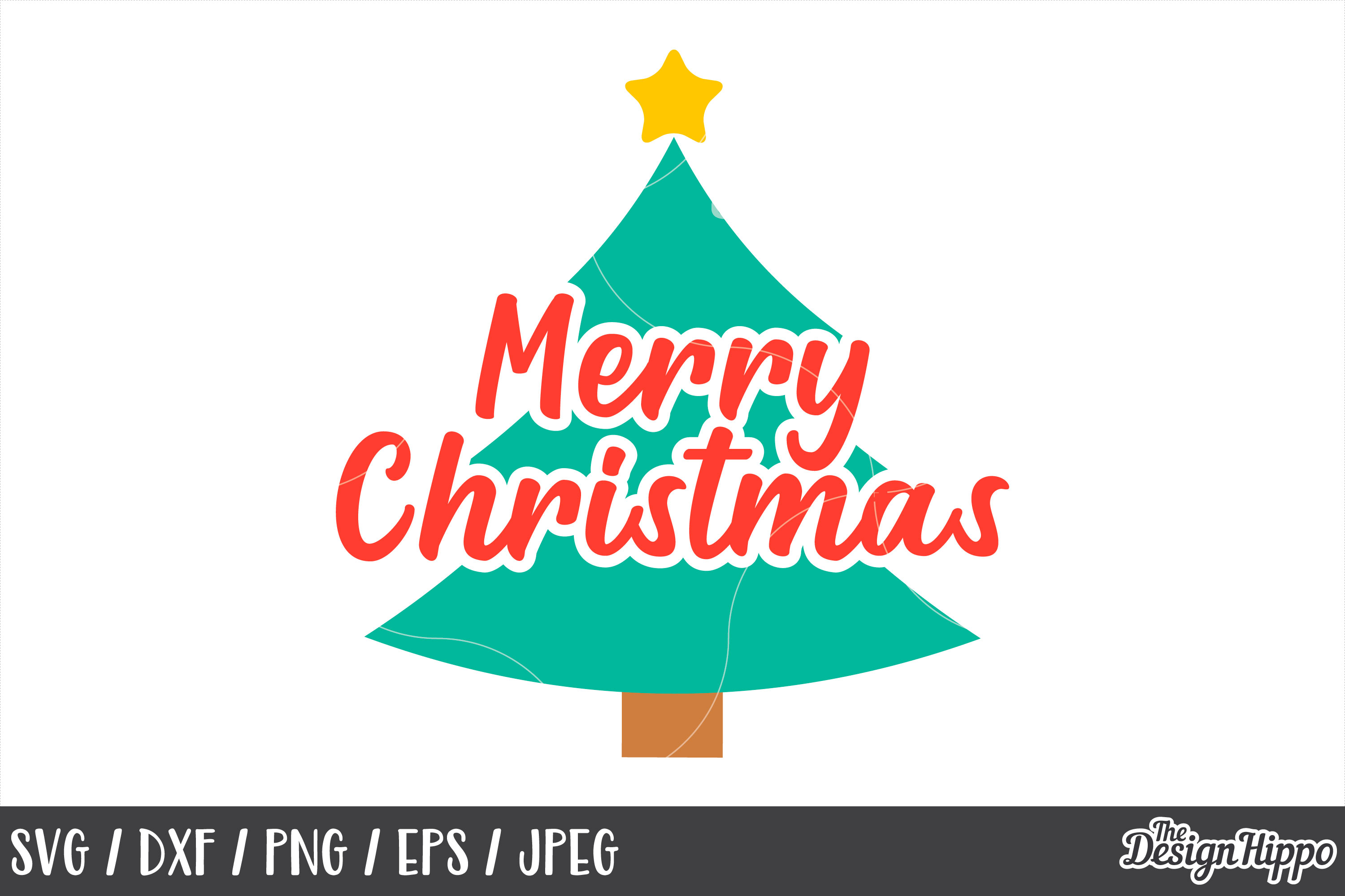 Christmas Tree, Merry Christmas SVG, Star, PNG, DXF Cut File example image 1